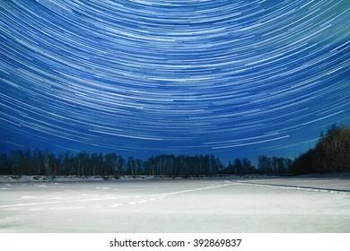 Night scenery, starry winter sky