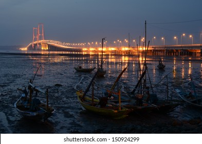 Night scenery of Suramadu Bridge, Surabaya, Indonesia