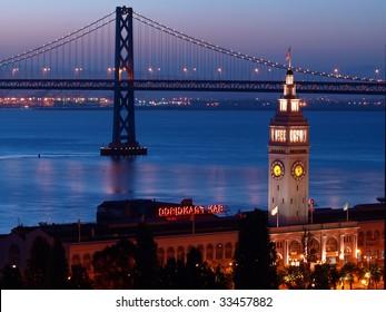 The night scenes of Ferry Building & Bay Bridge