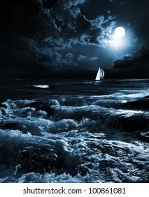 night sea in the moonlight