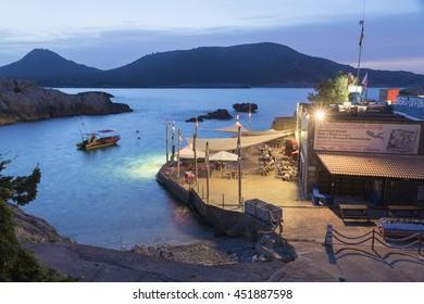 Night seascape in Cala Ratjada on June 2016 in Majorca island Balearics Spain Cala Lliteres by dusk