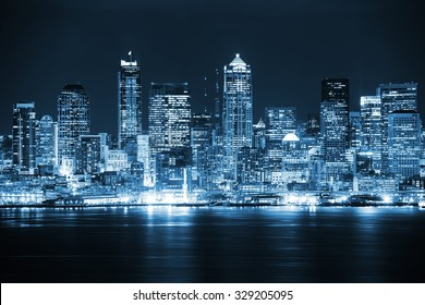 Night in the Seattle. Seattle, Washington City Skyline. Vivid Blue Color Grading. United States.