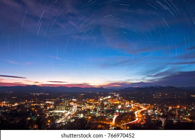 night sets on asheville, nc