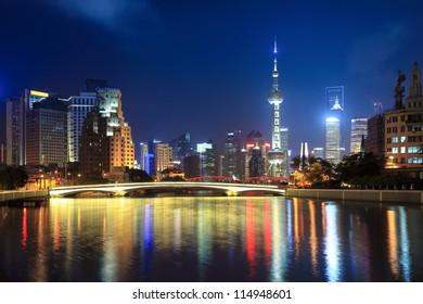 night shanghai, beautiful suzhou river and lujiazui financial center