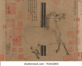 NIGHT SHINING WHITE, by Han Gan, 743-756, Chinese, Tang dynasty, painting, ink on paper. The animated horse of 8th century Emperor Xuanzong is portrayed with flaring nostrils and raised hoofs. This is