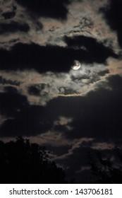 night shoot of moon on cloudy sky