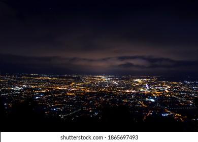 Night shoot of Murcia city in Spain. Amaizing panorama views on the night city.