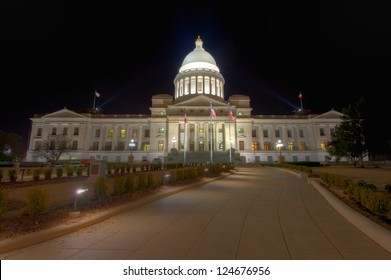 Night shot of the Arkansas State Capitol Building in Little Rock.