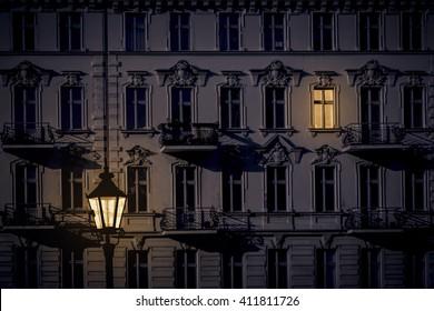 night shot of a beautiful old house in Kreuzberg, Berlin