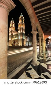 Night shot from Cathedral de la Concepcion in Campeche, Mexico