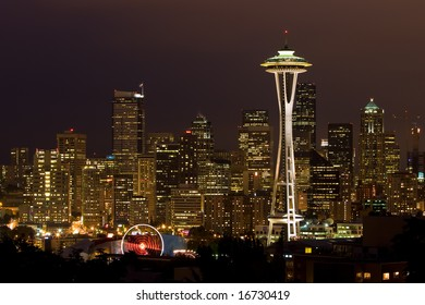 Night shot of City of Seattle with Space Needle.