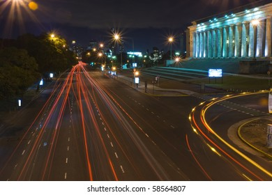 Night shot of city traffic in Buenos Aires city.