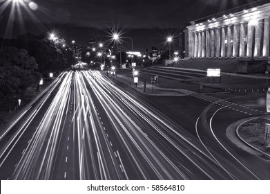 Night shot of city traffic in Buenos Aires city. Black and white.