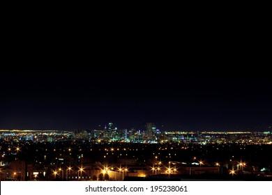 Night shot of the Denver Skyline