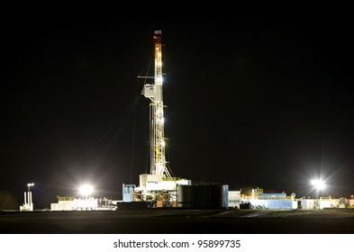 Night Shot Drilling Rig Potash Mine Saskatchewan Canada
