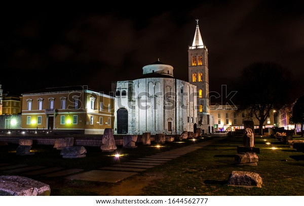 Night shot of early medieval church of St. Donatus and bell tower built on a roman forum, Zadar, Croatia