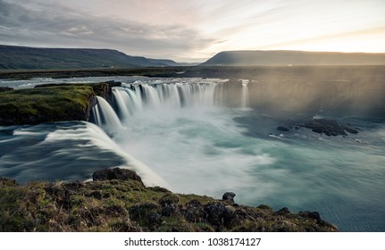 A night shot of Godafoss, Iceland. It can be found along the river Skjálfandafljót and is considered to be one of the more famous waterfall in Iceland.