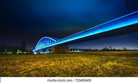 Night shot of a Hendrix bridge over Sava river in Zagreb - Croatia