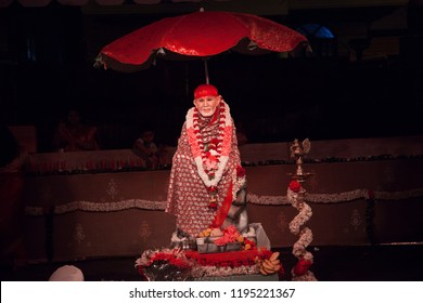 A night shot of Hindu god Sai baba shot in Bengaluru,India on October 2,2018