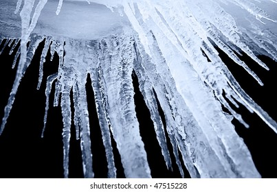 night shot of icicle on a black background
