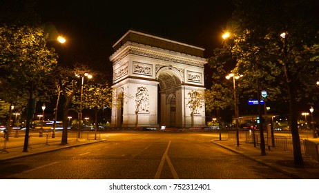 Night shot from iconic illuminated Arc de Triomphe, Champs Elysees, Paris, France