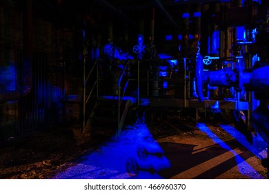 Night shot of Landschaftspark Nord, old illuminated industrial ruins available for the public in Duisburg, Germany. Landschaftspark Duisburg is a former coal and steel production plant abandoned in