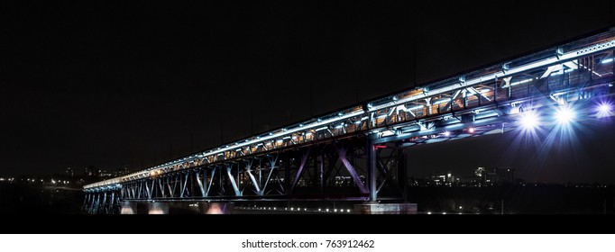 Night shot of the lights on the High Level Bridge in Edmonton, Alberta, Canada.
