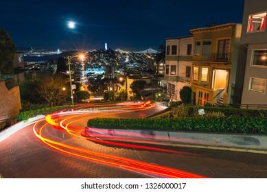 Night Shot at Lombard Street, San Francisco