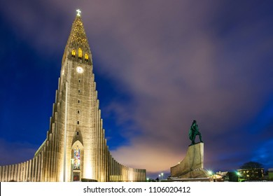 Night shot of lutheran church Hallgrimskirkja. Capital city of Iceland Reykjavik in winter.