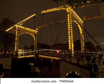night shot of the Magere Brug (skinny bridge) in Amsterdam, Netherlands