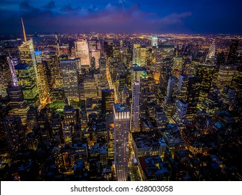 Night shot of Manhattan skyline from the Empire State building