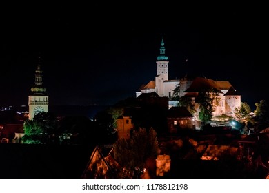 Night shot of Mikulov castle on the hill