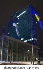 Night shot of new state administration building with flags in front in Banja Luka, Republika Srpska, Bosnia and Herzegovina