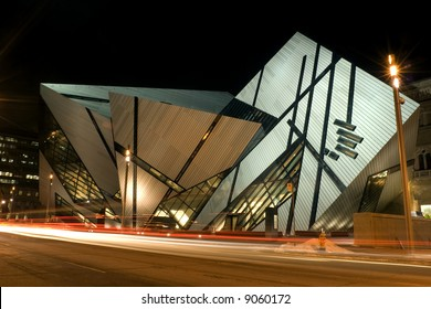 A night shot of the north face of the Royal Ontario Museum in Toronto, Canada, showing the new Michael Lee-Chin Crystal extension designed by Daniel Libeskind.