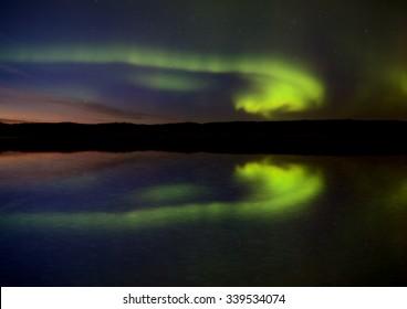 Night Shot Northern Lights Saskatchewan Canada lake reflection