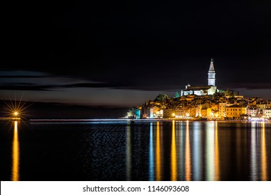 Night Shot of the Old City Peninsula of Rovinj, Croatia