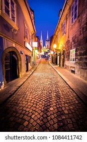 Night shot of an old street in Zagreb - Croatia with Cathedral