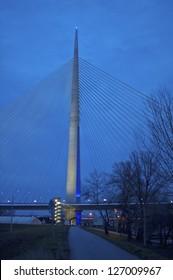 Night shot of part of construction of new Belgrade biggest bridge on Ada with one tower ( pilon), Serbia