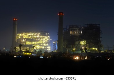 Night shot of the power plant
