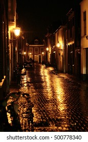 Night shot of a rainy alley