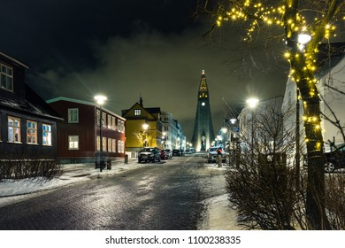 Night shot of Reykjavik downtown with lutheran church Hallgrimskirkja. Capital city of Iceland Reykjavik in winter.