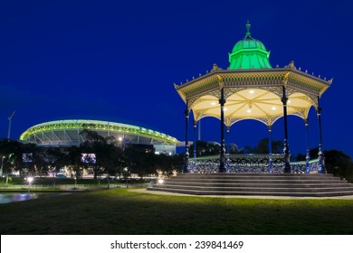 night shot of the rotunda in Elder park in Adelaide, South Australia. with Adelaide oval in the background