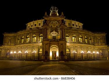 night shot of the Semper Opera in Dresden, Germany