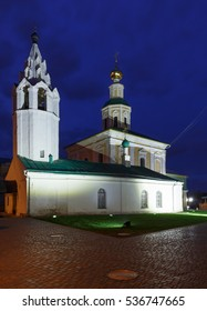 Night shot of the St. George Church with the bell tower in Vladimir city, Russia.