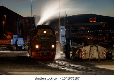 Night shot of the steam train in Wernigerode