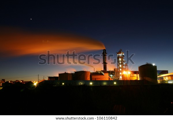 Night shot of Sugar The Bañeza in the province of Leon, Spain