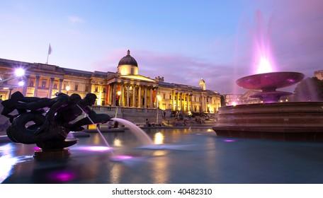 Night shot of Trafalgar Square, London