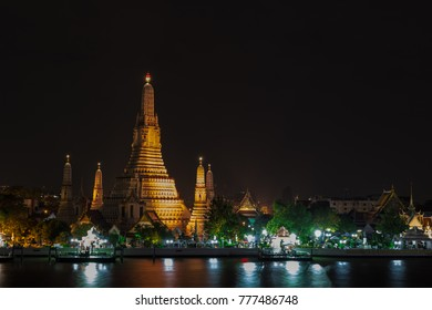 Night shot at Wat Arun which is called Temple of Dawn in Bangkok, Thailand