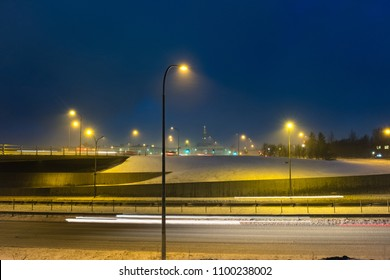 Night shot of winter cityscape in Reykjavik, Iceland.  Winter scandinavian cityscape with empty streets.