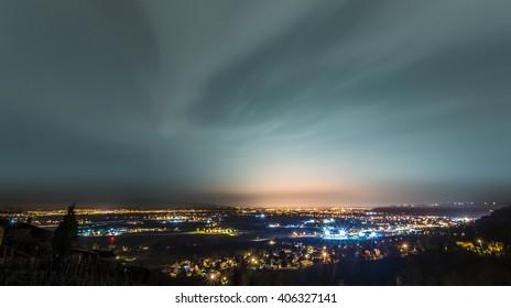 Night shot of Zagreb from beautiful Samobor hills